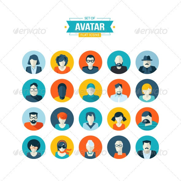Set of Avatar Flat Icons - People Characters