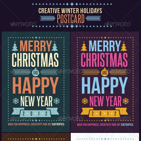 Creative Winter Holidays Postcard