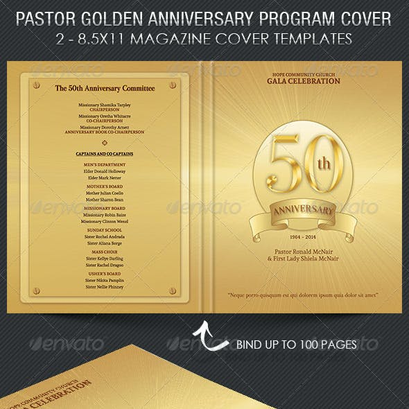 Pastor Golden Anniversary Program Cover Template