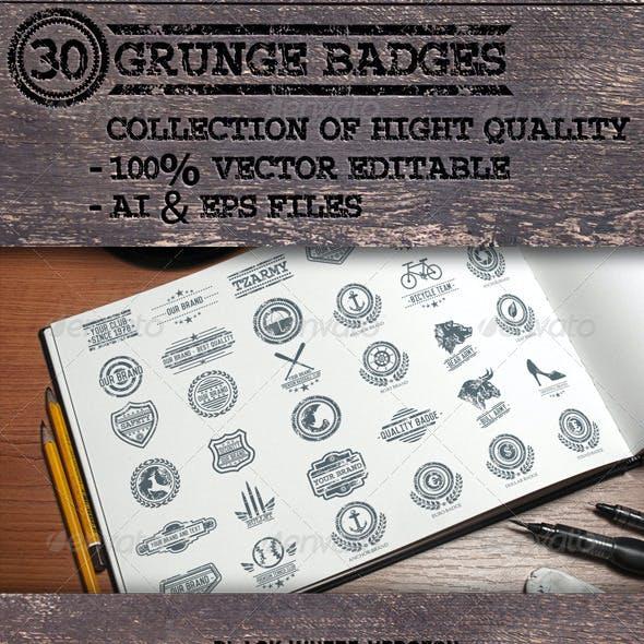 30 Grunge Badges