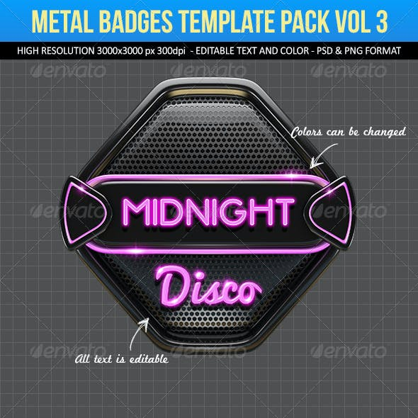 Metal Badges Template Pack Vol 3