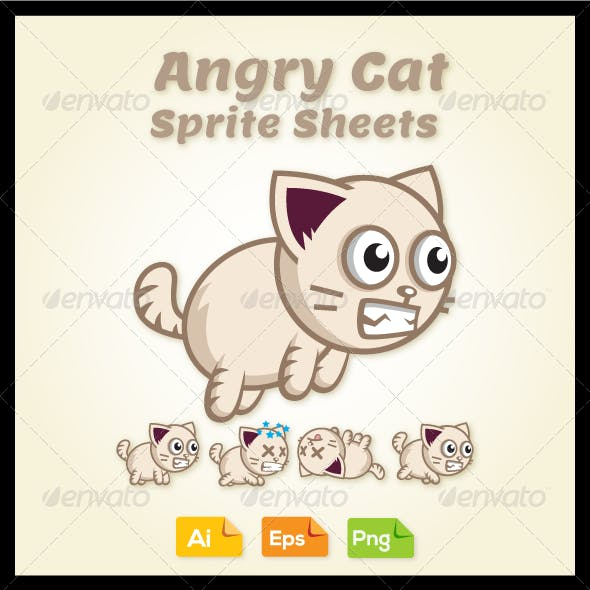 Game Character - Angry Cat Sprite Sheets
