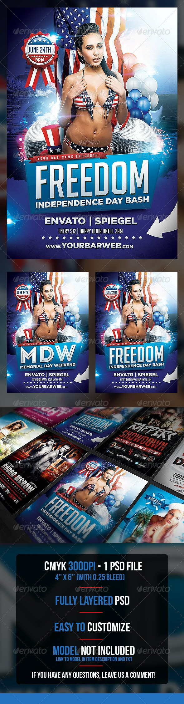 Freedom Memorial and Independence Flyer Template - Flyers Print Templates