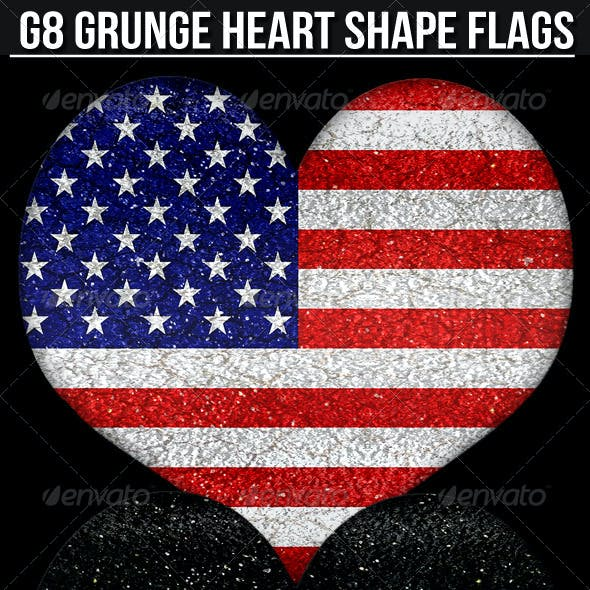 G8 Grunge Style Heart Shape Flags