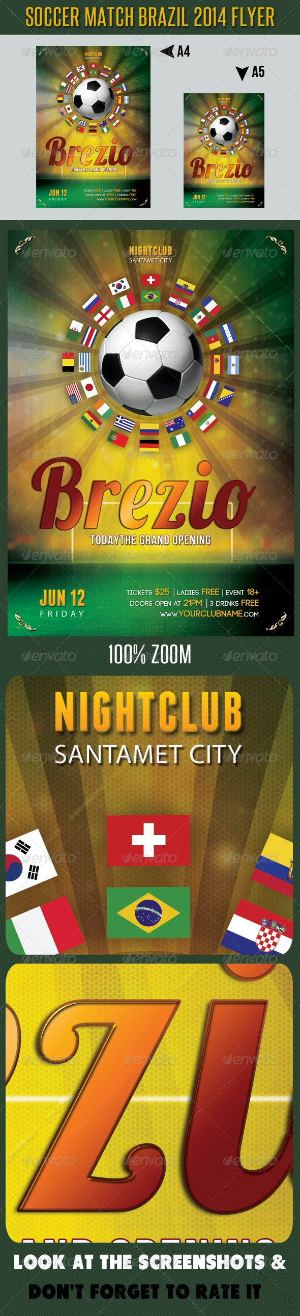 Soccer Tournament 2014 Flyer Template - Sports Events