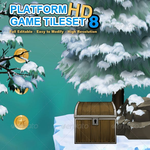 Platform Game Tileset 8: Snowy Mountains