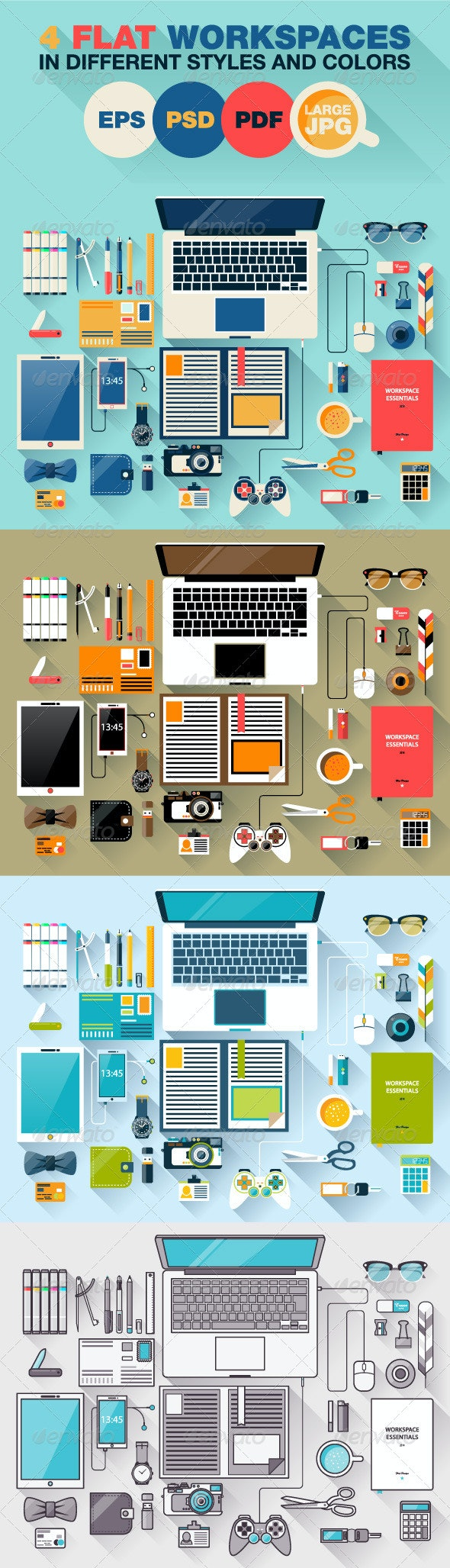 4 Creative Office Workspace - Objects Vectors