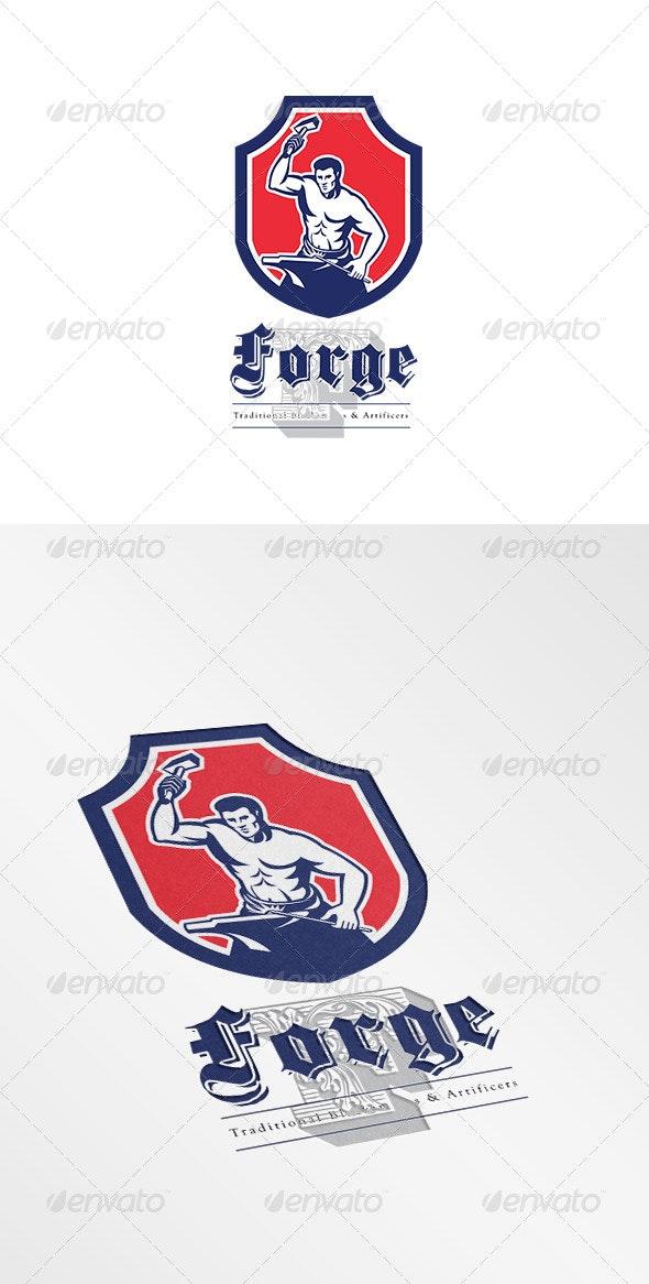Forge Traditional Blacksmiths Logo - Humans Logo Templates