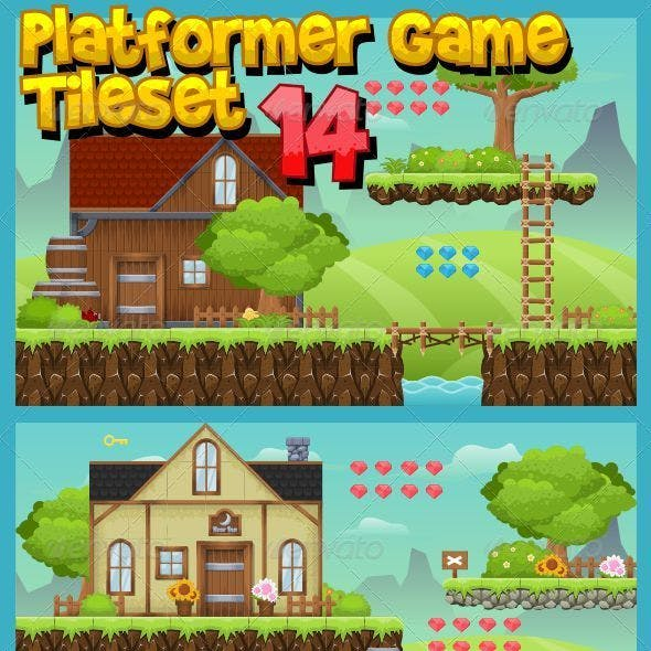 Platformer Game Tile Set 14