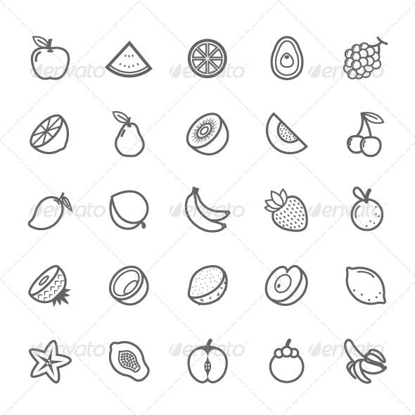 25 Outline Stroke Fruit Icons