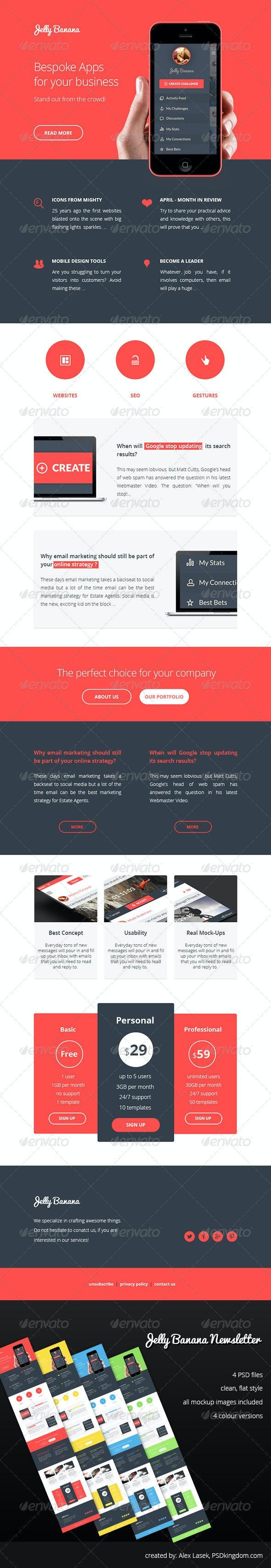 Jelly Banana Flat eNewstetter Design Template  - E-newsletters Web Elements