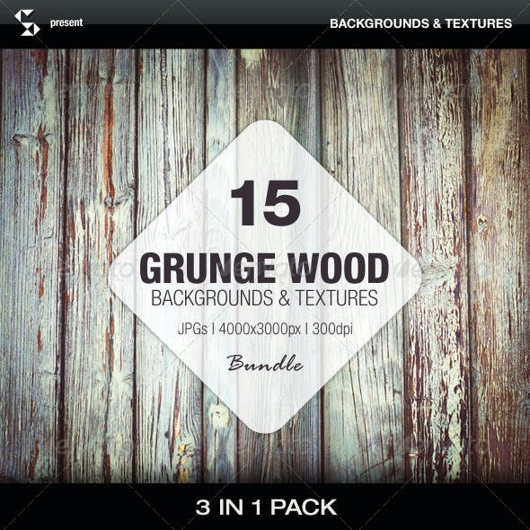 Grunge Wood Backgrounds - Bundle