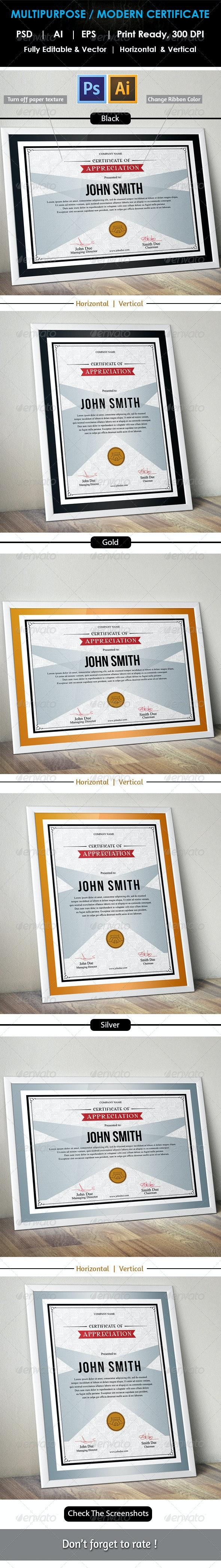 Simple Multipurpose Certificate GD006 - Certificates Stationery