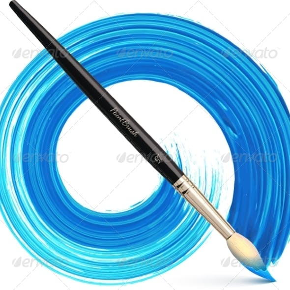Vector Paintbrush with Blue Brush Stroke