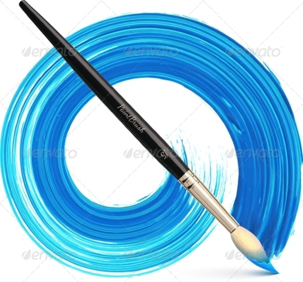 Vector Paintbrush with Blue Brush Stroke - Man-made Objects Objects