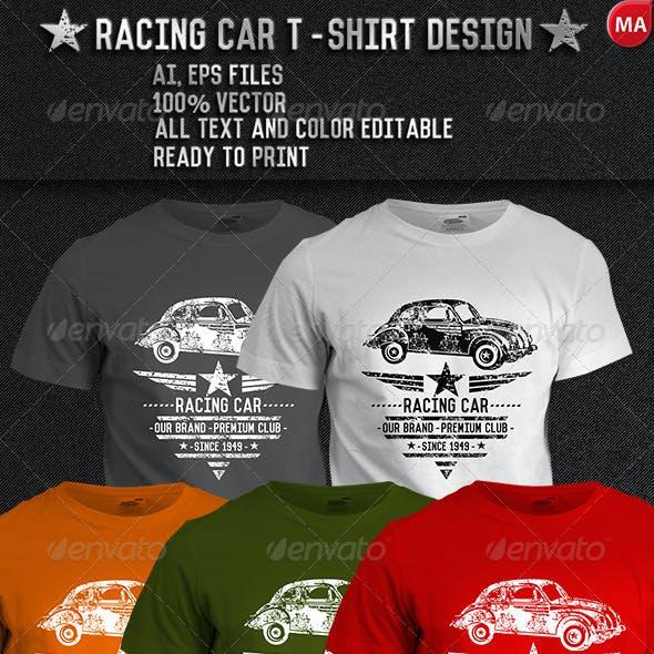 grunge Racing car T-Shirt Design
