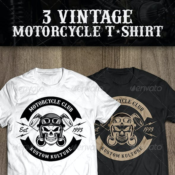3 Vintage T-shirt Motorcycle
