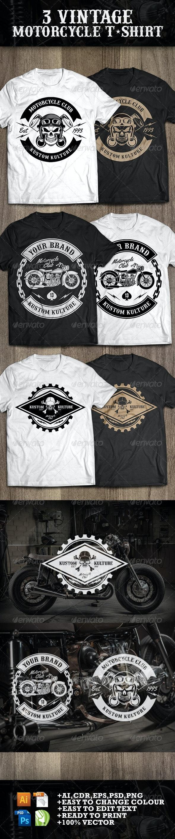 3 Vintage T-shirt Motorcycle - Sports & Teams T-Shirts