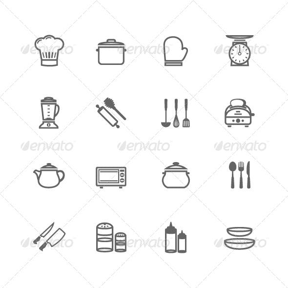 16 Outline Stroke Kitchenware Icons