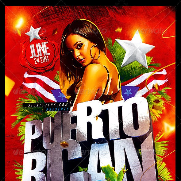 Puerto Rican Party Flyer Template PSD