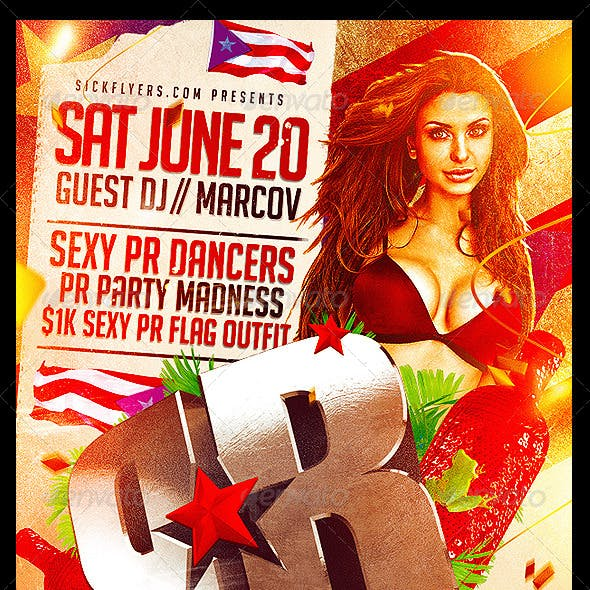 Puerto Rico Parade After party Flyer Template