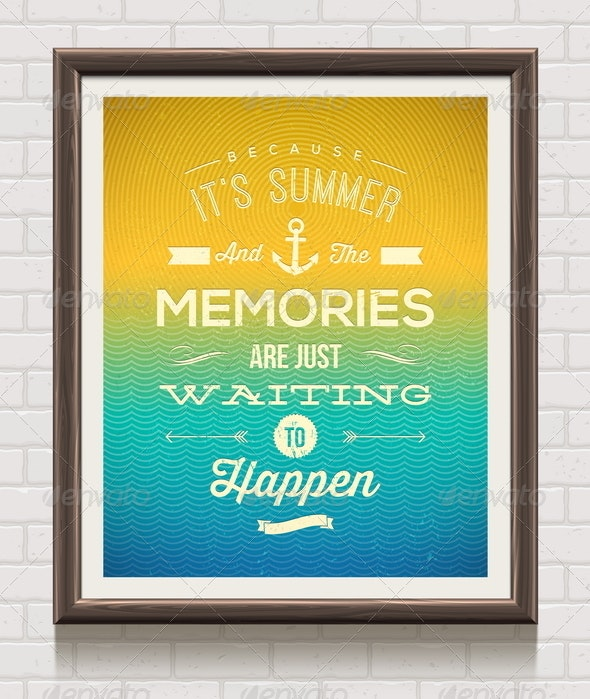 Vector Vintage Poster with Summer Vacation Quote - Conceptual Vectors