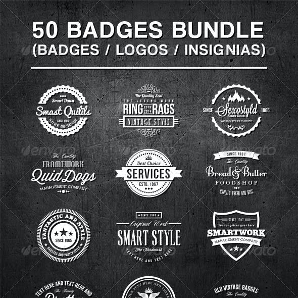 50 Vintage Style Badges Bundle