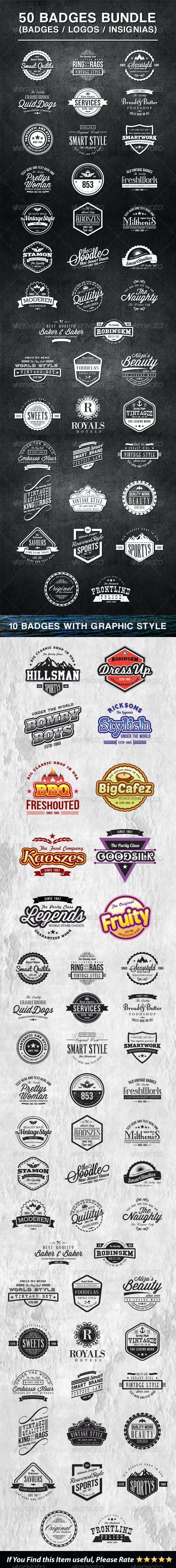 50 Vintage Style Badges Bundle - Badges & Stickers Web Elements