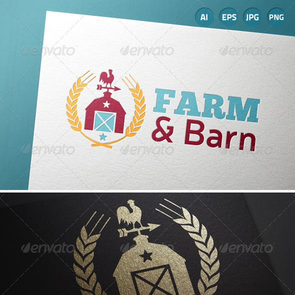 Farm Barn Country Wheat Logo