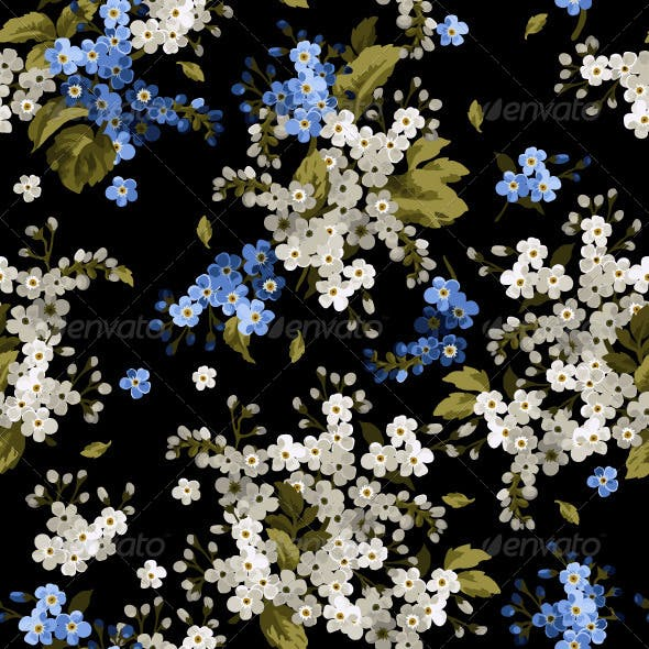Seamless Floral Pattern with Forget-Me-Not
