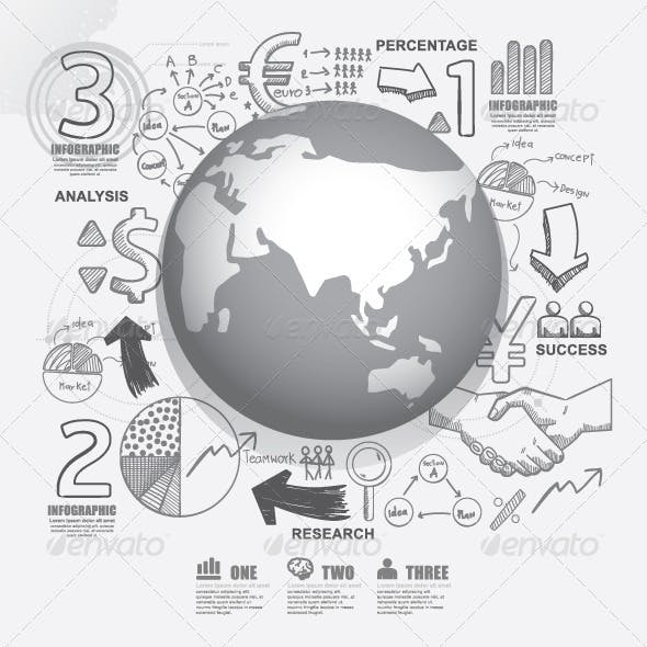 World Business Doodles Line Drawing Concept