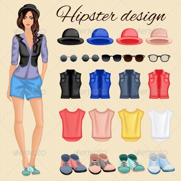 Hipster Girl Elements - People Characters