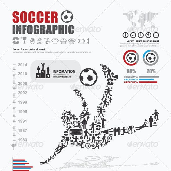 Infographic Soccer Ball Elements Design Template