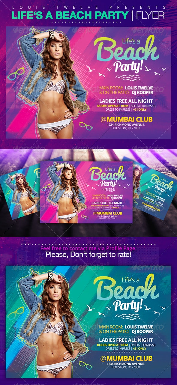Life is a Beach Party | Flyer Template - Clubs & Parties Events