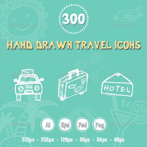 300 Travel Hand Drawing Icons