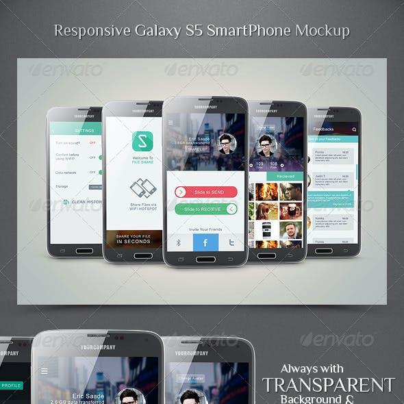 Responsive Galaxy S5 Smartphone Mockup