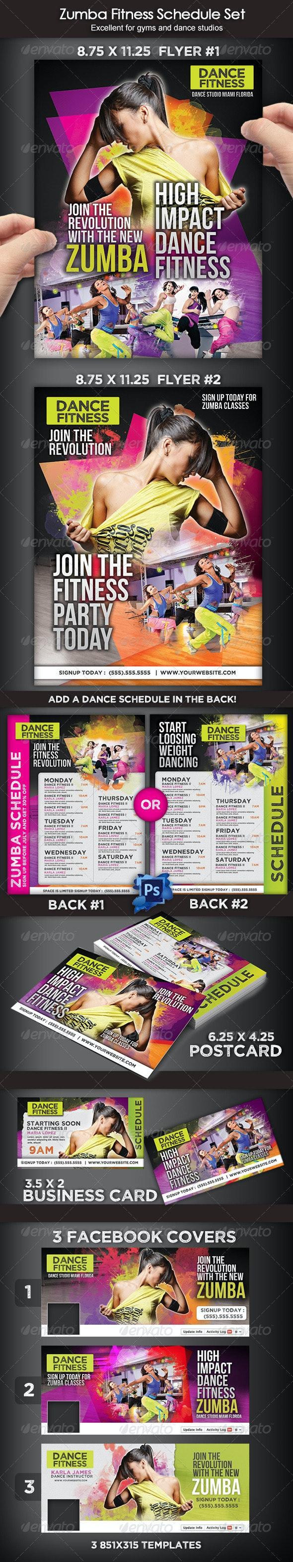 Zumba Dance Fitness Set - Print Templates