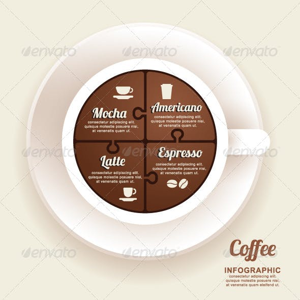 Infographic Template with Coffee Cup Jigsaw banner