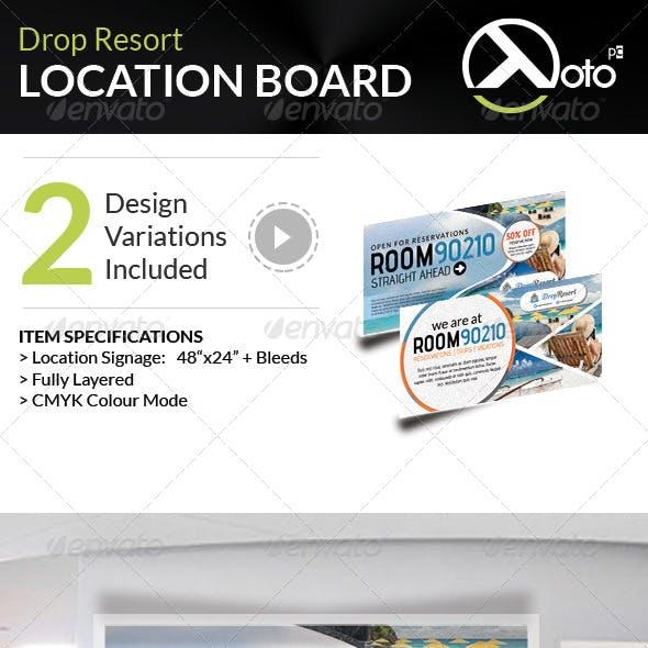 Drop Beach Resort Vacation Trip Location Board