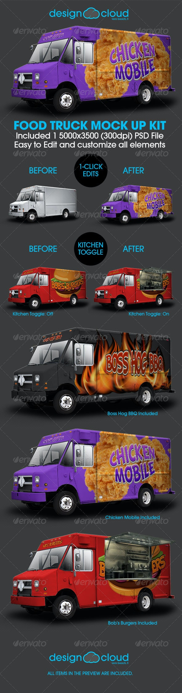 Food Truck Mock Up Kit - Vehicle Wraps Print
