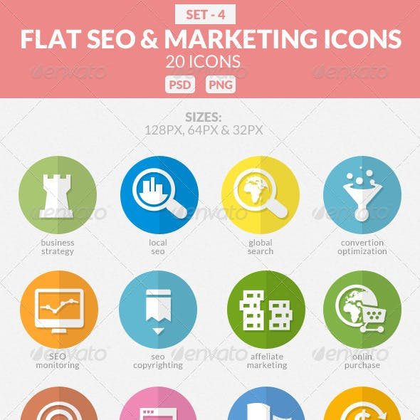 Flat SEO & Marketing Icons Pack 4