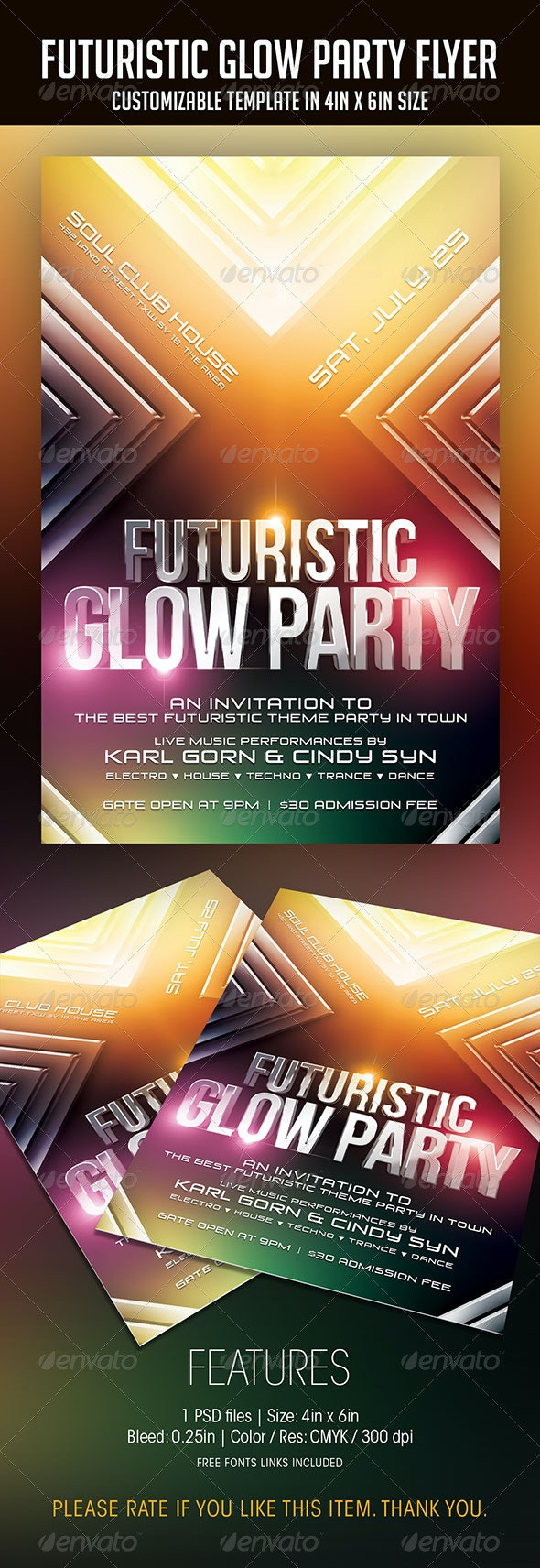 Futuristic Glow Party Flyer - Clubs & Parties Events