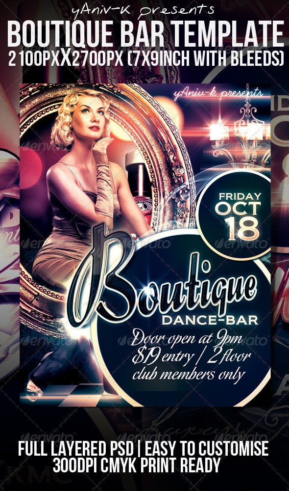 Boutique Bar Flyer Template - Clubs & Parties Events