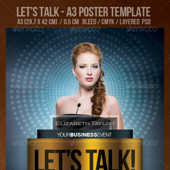 Let's Talk! A3 Poster Design Template.