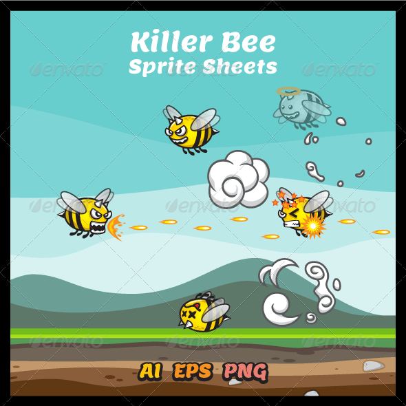 Killer Bee Game Character Sprite Sheets