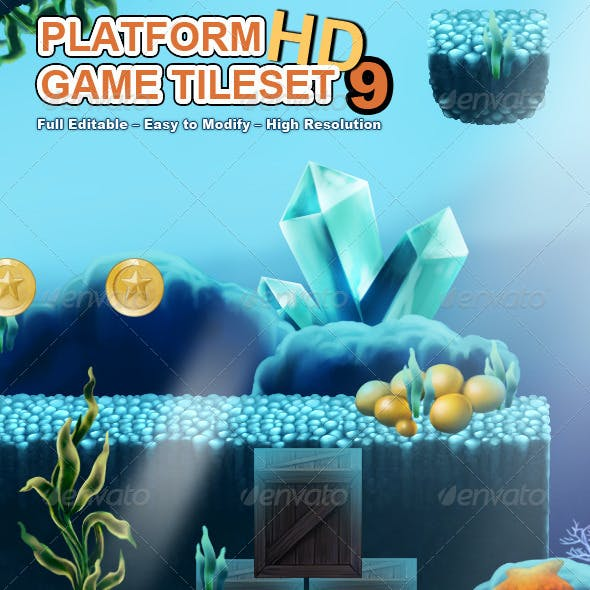 Platform Game Tileset 9: Underwater World