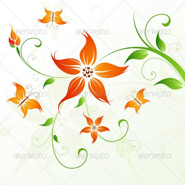 Abstract Vector Flower Background with Butterfly - Flowers & Plants Nature