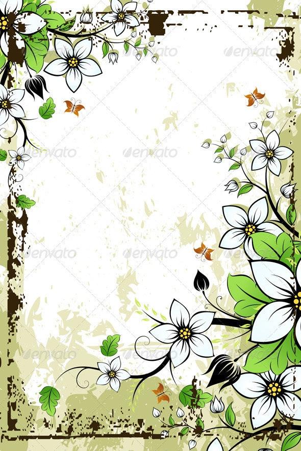 Grunge Floral Frame - Backgrounds Decorative
