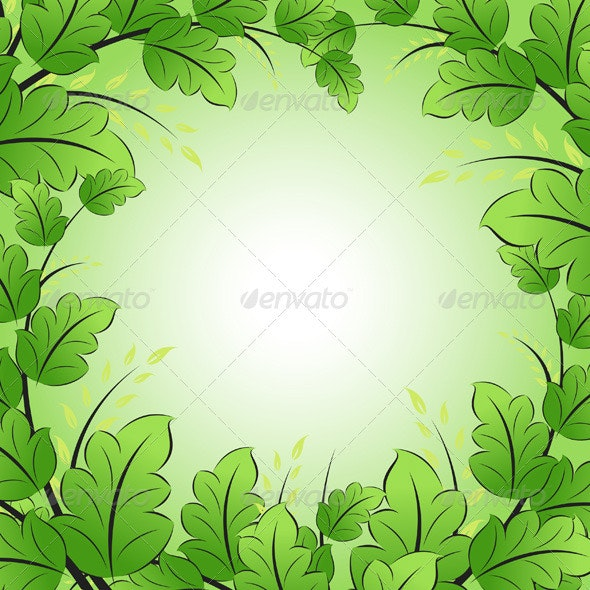 Green Frame with Leaves - Backgrounds Decorative