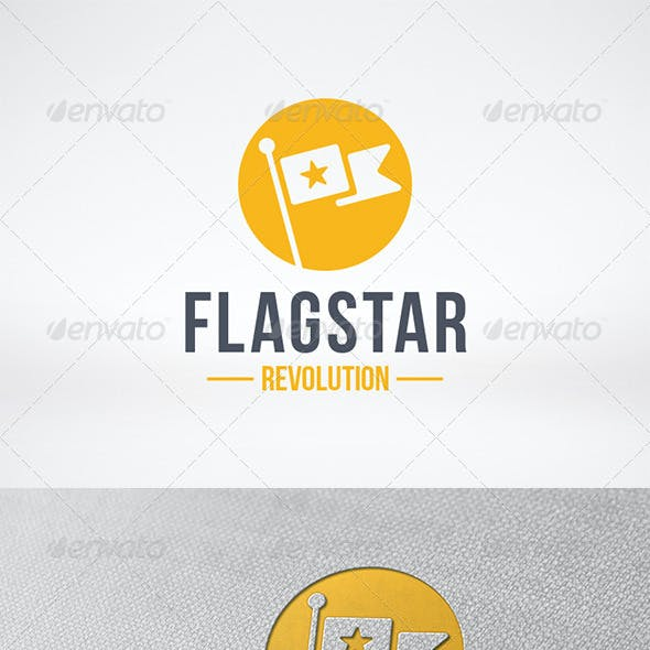 Flag Star Logo Template